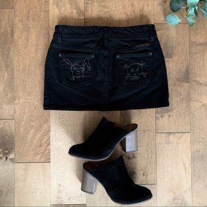 Citizens of Humanity Black Embroidered Mini Skirt